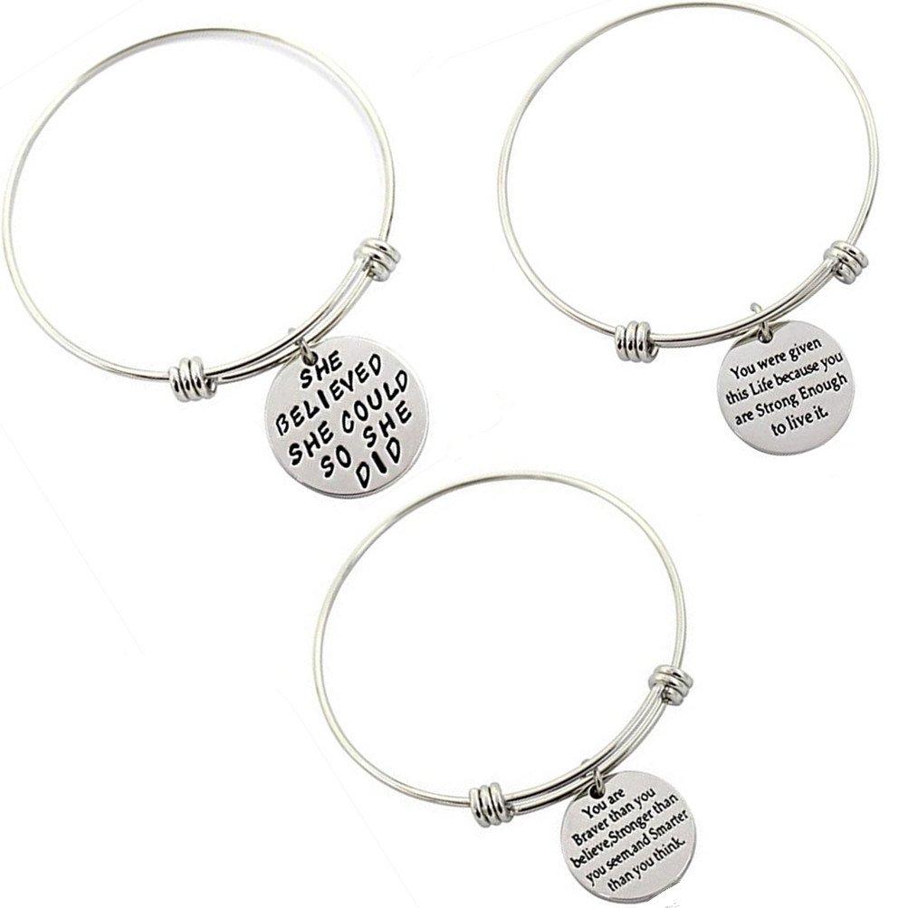 TOP-VRA Women Message Charm Pendant Bracelet Engraved Motivational Inspirational Charm Beads Pendant Wrap Stainless Steel Bracelets 1Set Adjustable Wire Bangle (B.1SET-3PC Steel)