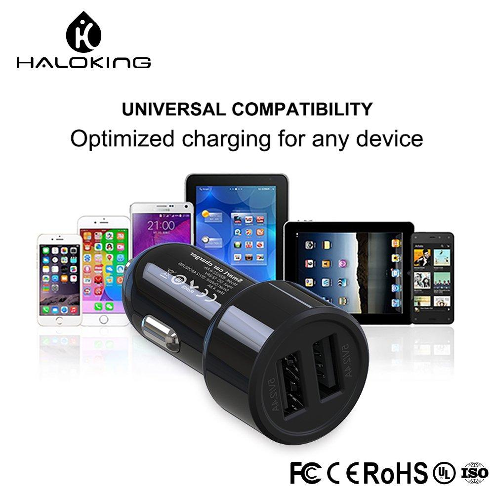 Negro LG Note 5//4 Nexus HTC Cargador de coche Galaxy S8 // S7 // Edge // Plus Haloking Dual USB Fast Adaptador para coche iPhone X // 8 // 7 // 6S // Plus