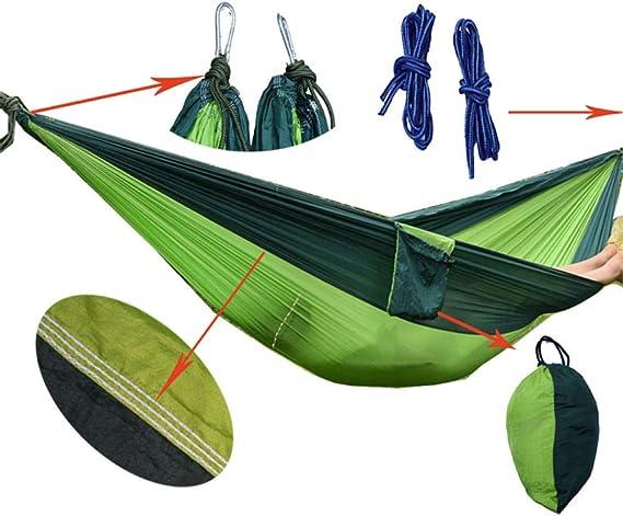 HaodongParacaídas Hamac extérieur tente Hamac meubles de Jardin balançoire Hamaca Hangmat Camping hamacs@blagreen appgreen_Los 270 * 140cm: Amazon.es: Deportes y aire libre