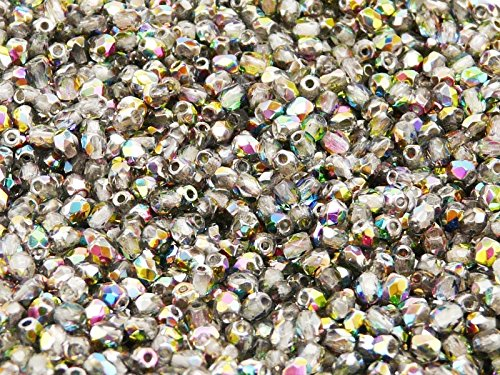 100 pcs Czech Fire-Polished Faceted Glass Beads Round 3mm Crystal - Czech Glass 100 Faceted Beads