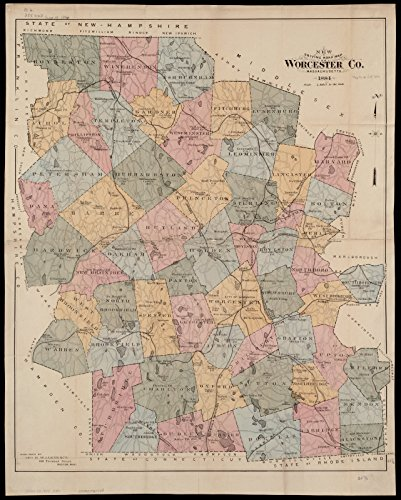 Historic Map | 1884 New driving road map of Worcester Co. Massachusetts | Antique Vintage - 30 Worcester Road