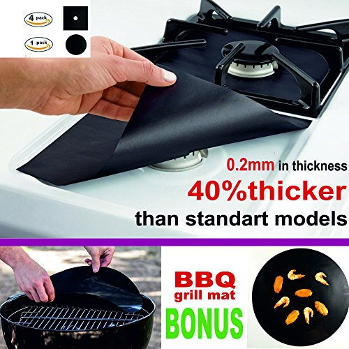 Price comparison product image Gas stove burner covers, And FREE BBQ Grill Mat - Stove top burner liner, Gas Range Protector, Double Thick 0.2MM, Non-Stick, Reusable, Fast Clean, SET OF 5 (4xStove Cover+1xBBQ Mat)!