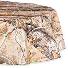 """DII Real Tree Peva Tablecloth with Flannel Backing for Indoor/Outdoor Mixed Sizes, 60"""" Round and 52 x 90"""", Set of 2"""
