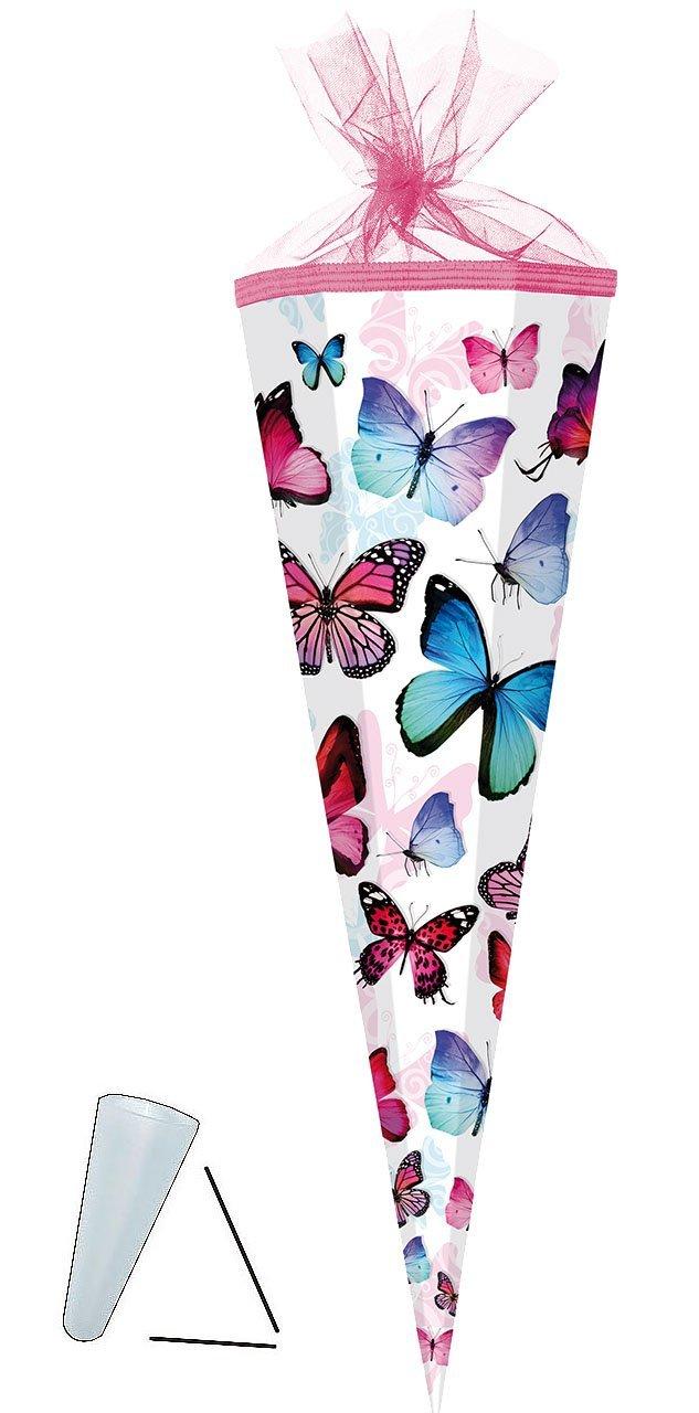 Schmetterling /& Blumen // B.. Zuckert/üte rund Schmetterlinge mit T/üllabschlu/ß mit // ohne Kunststoff Spitze 22 cm alles-meine.de GmbH Schult/üte bunt f/ür M/ädchen