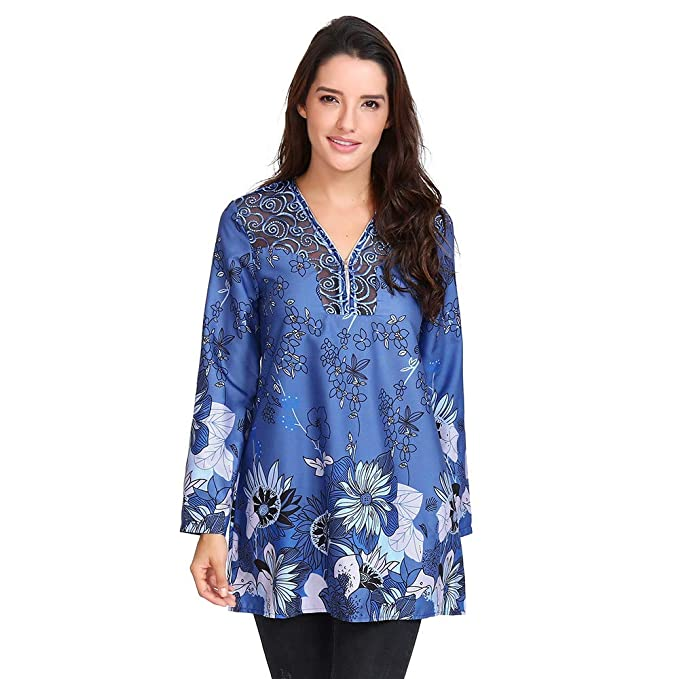 Womens Lace Neckline Top Zip V-Neck Long Sleeve Print ...