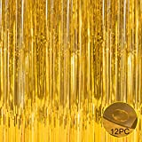 Foil Fringe Metallic Curtain Backdrops - With Balloon Sticks 3FTX8FT Tinsel Shiny Curtains Perfect for Photo Booth Party/Window/Door Decorative Fringe Curtains (5 Pics,Gold)