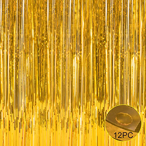 (Foil Fringe Metallic Decorative Curtains,Tinsel Shinning Curtains Perfect for Photo Booth Party/Window/Door Decorative Fringe Curtains,1 Pic Gold(3FTX8FT))