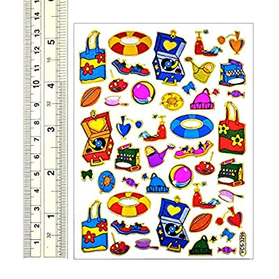 Beach - 10 Sheets Beach Accessories Self-Adhesive Glitter Metallic Foil Reflective Sticker Decorative Scrapbook for Kid, Birthday Party, Photo, Card, Diary, Album: Toys & Games