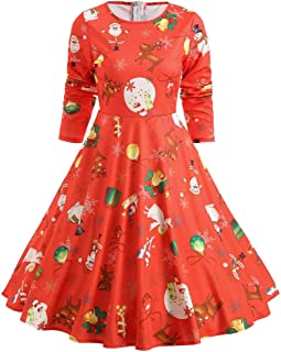 WDBXN Vestido de Fiesta de Manga Larga hasta la Rodilla con Estampado de Campana de algodón de Las Mujeres de la Vendimia Vestido de Fiesta de Navidad