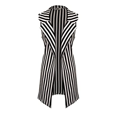39f23e3e53fbaa Womens Ladies Vertical Stripe Sleeveless Longline Duster Blazer Jacket  (M L