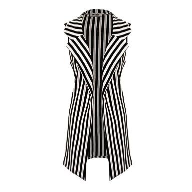 f103040d4 Womens Ladies Vertical Stripe Sleeveless Longline Duster Blazer Jacket  (M L