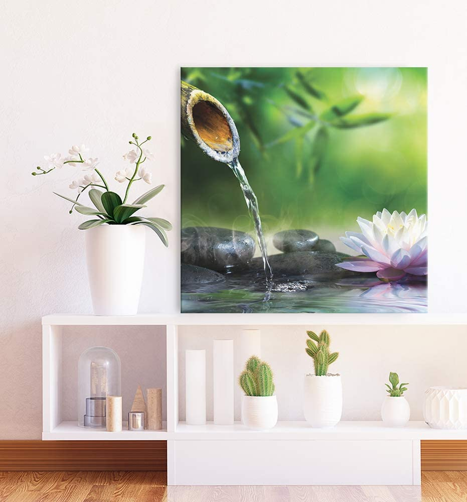 Tableaux pour la Mur Images sur Toile Taille: 40x30 cm Impression Artistique Revolio Bambou noyaux Vert Design D/écoration Murale