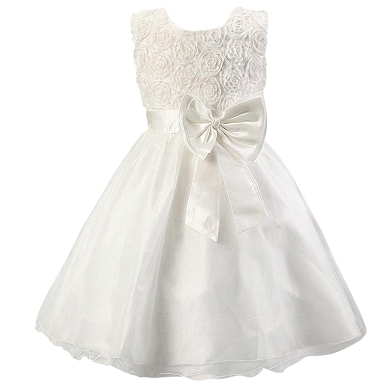 Katara - Vestido de noche para Niña con flores y con arco, color Blanco, talla 104/110 (tamaño fabricante 110): Amazon.es: Juguetes y juegos