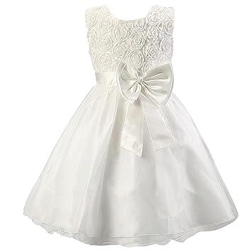 Katara - Vestido de noche para Niña con flores y con arco, color Blanco,
