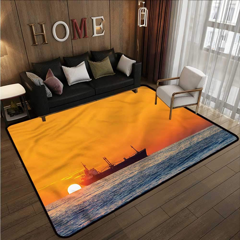 "Nautical,Office Chair Floor Mat Foot Pad 60""x 96\"" Yacht Sea Sailing to City Throw Rugs"