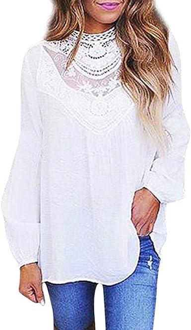 PAOLIAN Blusa con Encaje de Mujer Manga Largas Otoño 2018 Moda Camisetas Ancho Casual Cuello Redondo Camisas Hueco Transparentes Señora Ropa para Mujer Negras Fiesta: Amazon.es: Ropa y accesorios
