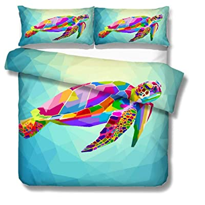 Feelyou Sea Turtle Duvet Cover Set Full Size for Children Turtle Swimming Print Bedding Set Oceanic Wildlife Themed Comforter Cover with 2 Pillowcases Creatures Microfiber Zipper 3 Pcs Bedspread Cover: Home & Kitchen [5Bkhe1407176]