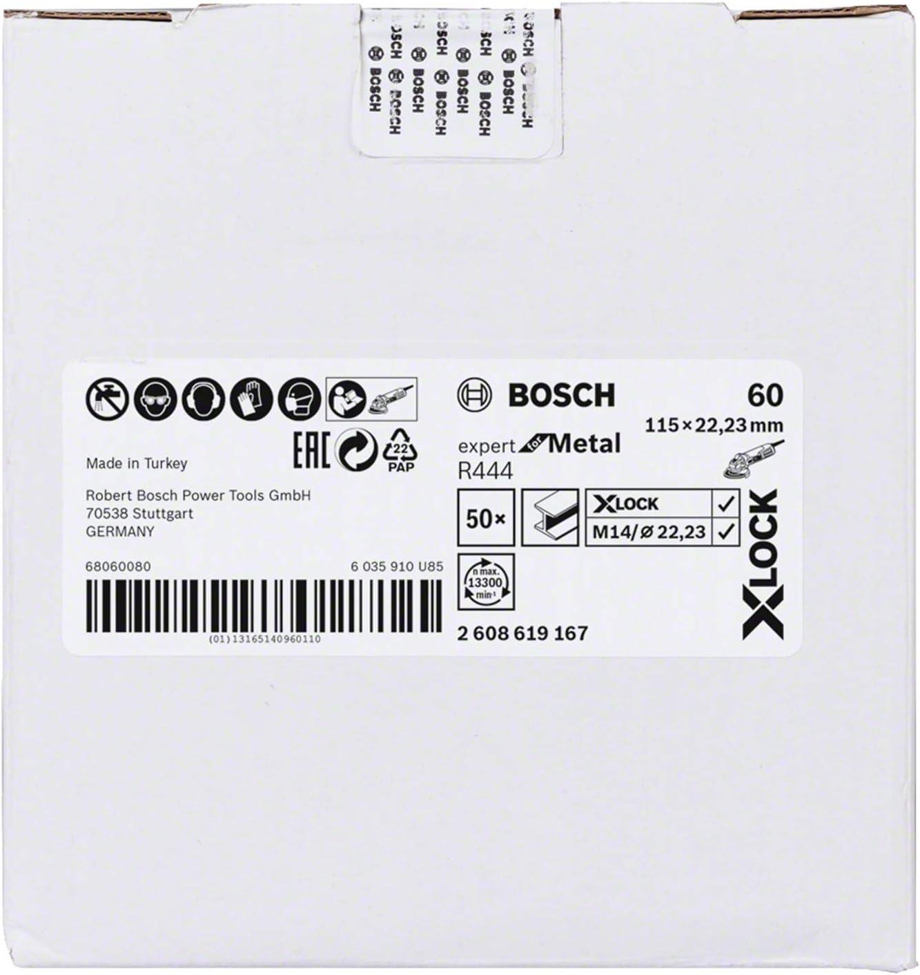 Bosch Professional Expert Discos de lija de fibra para metales, X-LOCK, R444, /Ø115 mm, grano 60, di/ámetro del orificio: 22,23 mm