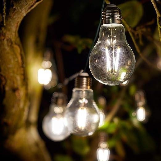 Festive Lights Guirnalda Solar con Luces LED de filamento, decoración de jardín, Bodas: Amazon.es: Iluminación