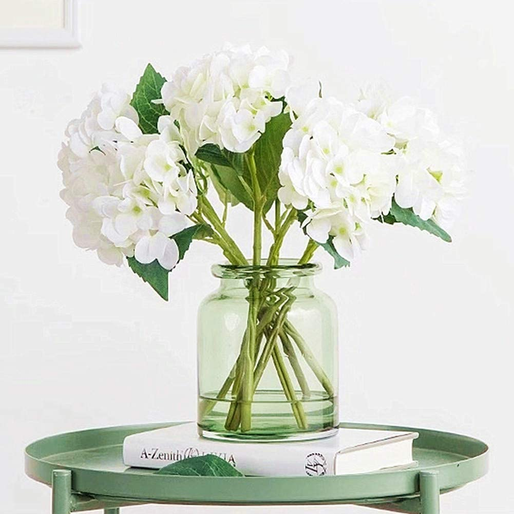 Jasion 3PCS Artificial Flowers Hydrangeas Flowers Silk Bouquet for Wedding Bridal Office Home Party Decoration (All White)