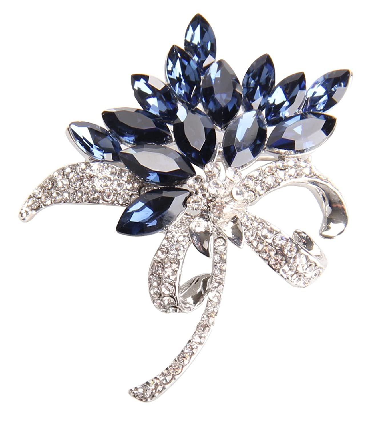 Gyn&Joy Women's Orchid Flower Crystal Bling Brooch Pin Jewelry BZ002