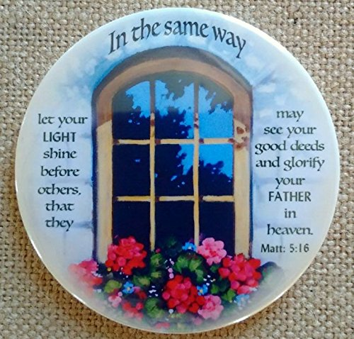 Magnet: 3.5', Religious, Bible Verse, Let Your LIght Shine, Painting of Window With Flower Box