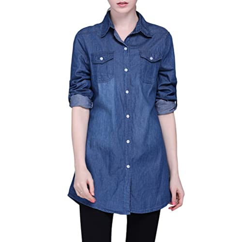 Zhuhaitf Popular Camisa de mezclilla especial Denim Long Shirts Jean Cardigan Lapel Jackets Slim Fas...