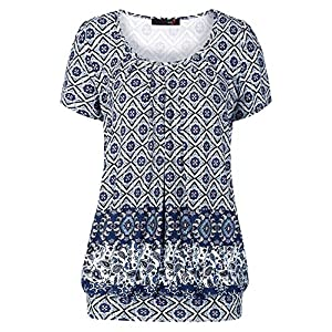 DJT Women's Scoop Neck Short Sleeve Front Pleated Tunic Medium Blue Floral