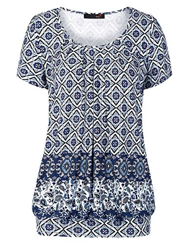 DJT Women's Scoop Neck Short Sleeve Front Pleated Tunic Large Blue Floral