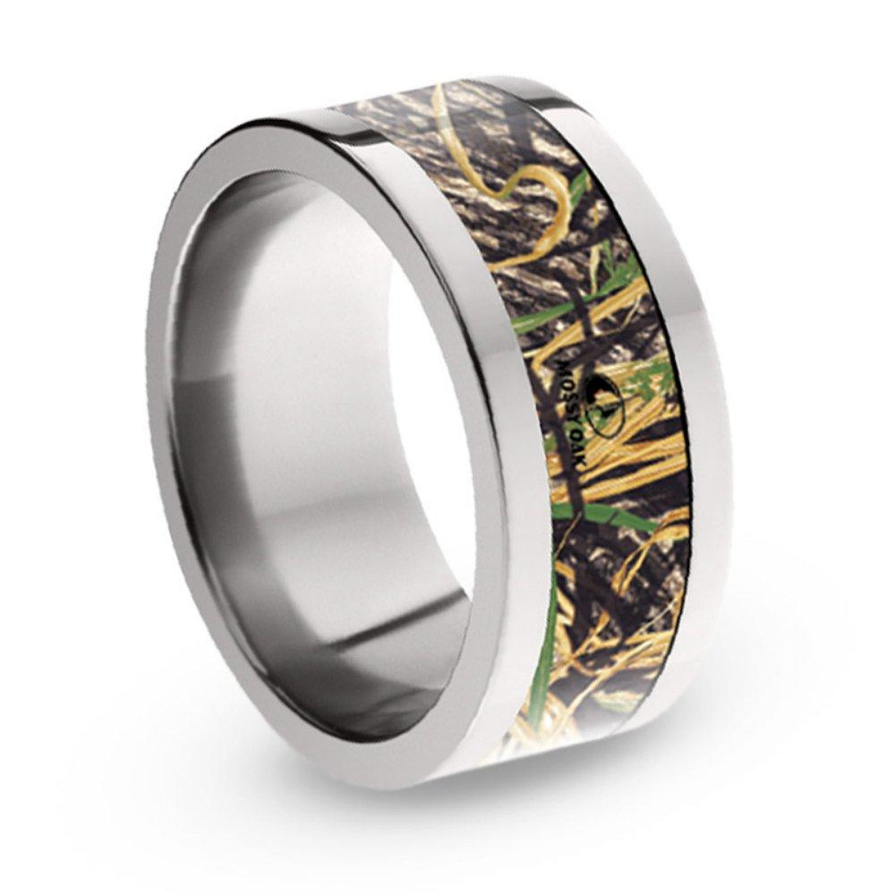 Mossy Oak Shadow Grass Camo 8mm Comfort-Fit Titanium Ring, Size 13.5