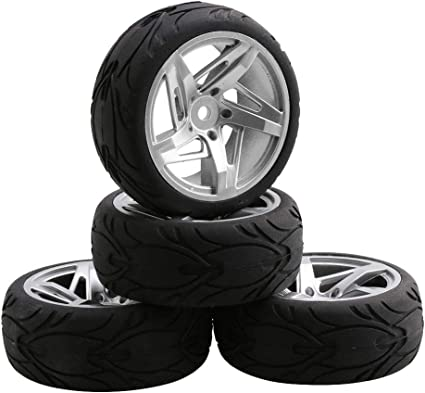 4x RC1:10 On-Road Racing Car Smooth Rubber Tires Alloy 7 Spoke Silver Wheel Rims