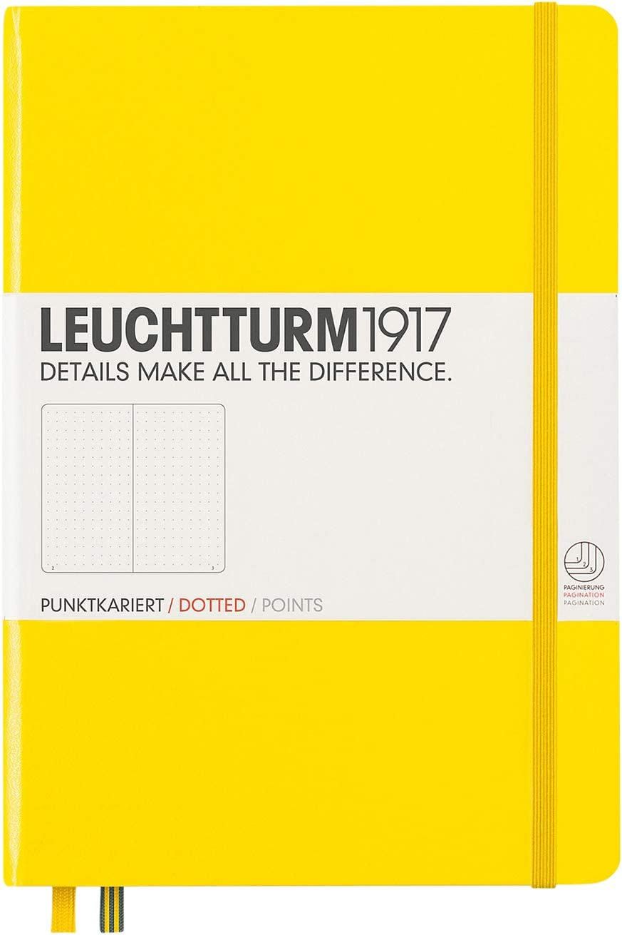 Leuchtturm1917 Medium A5 Dotted Hardcover Notebook (Lemon) 249 Numbered Pages
