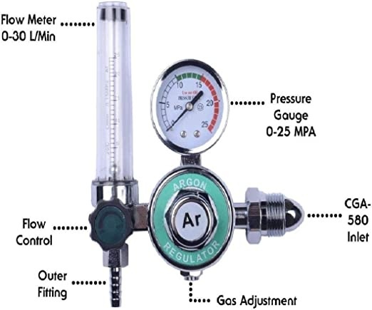 0-25Mpa Gas  Regulator Valve Tig CO2 Argon Control Meter Welder Machine