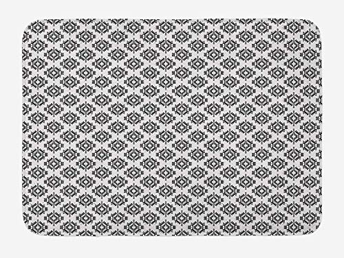 Weeosazg Native American Bath Mat, Grunge Monochrome Motifs with Ancient Cultural Origins Indigenous Abstract, Plush Bathroom Decor Mat with Non Slip Backing, 31.5 X 19.7 Inches, Black White -