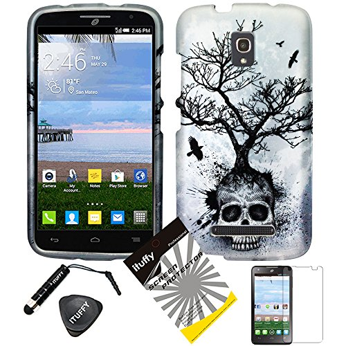 4 items Combo: ITUFFY (TM) LCD Screen Protector Film + Stylus Pen + Case Opener + Design Rubberized Snap on Hard Shell Cover Faceplate Skin Phone Case for TracFone Alcatel OneTouch Pop Mega A995L (6.0