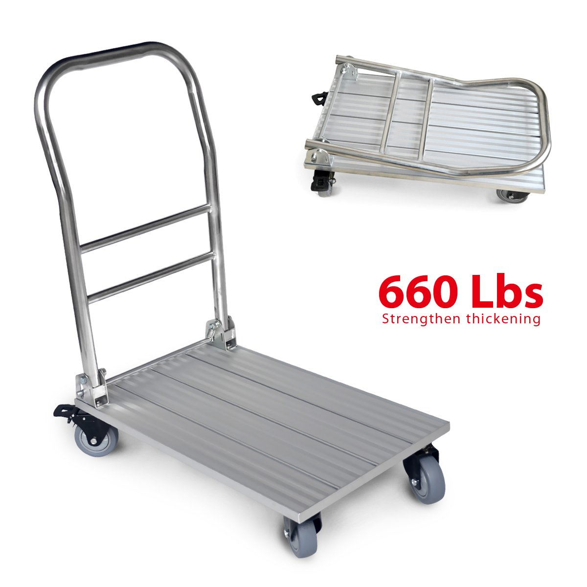 Vtuvia Folding Aluminum Platform Truck 660 lbs Foldable Push Dolly Moving Warehouse Hand Cart Lightweight Plate Trailer by VTUVIA