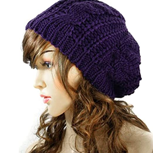 d0107a2405a Image Unavailable. Image not available for. Color  Winter Warm Beanie Baggy  Hat Skull Loose Beret Chunky ...