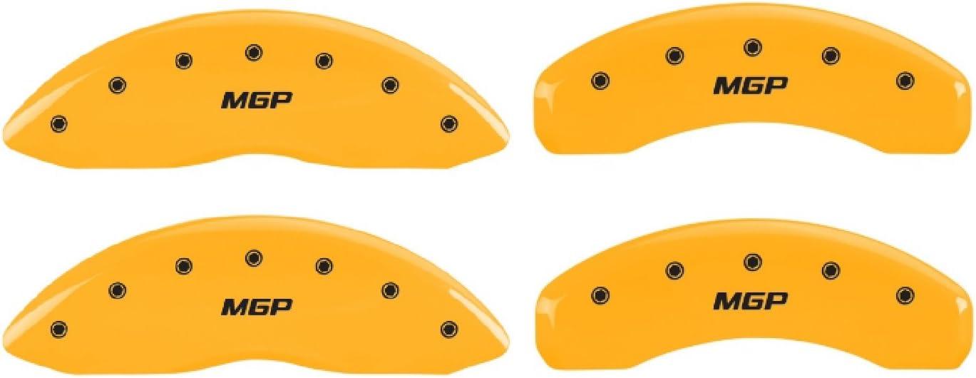 Set of 4 MGP Caliper Covers 56003SMGPYL Yellow Powder Coat Finish Black Characters Disc Brake Caliper Cover