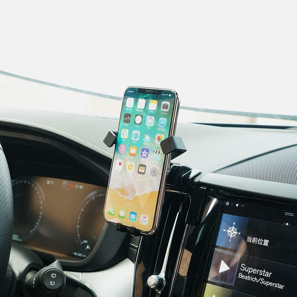 Beerte Phone Holder fit for Volvo XC60 2019 2018 2017,Adjustable Air Vent,Car Dashboard Cell Phone Mount,Phone Mount fit for Any 4-6.5 inches iPhone Samsung Smartphone Carbon Fiber Pattern