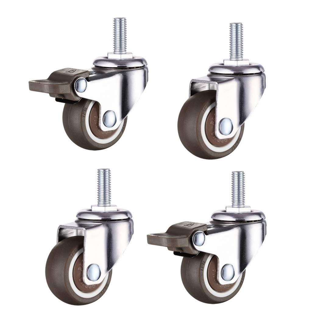 Norgail 1 Inch Shopping Cart Wheel Trolley Swivel Caster Wheels Soft Rubber TPE M6x 15mm Threaded Stem Caster Wheel (2 with Brakes), 33lb/15kg Load Capacity, Set of 4