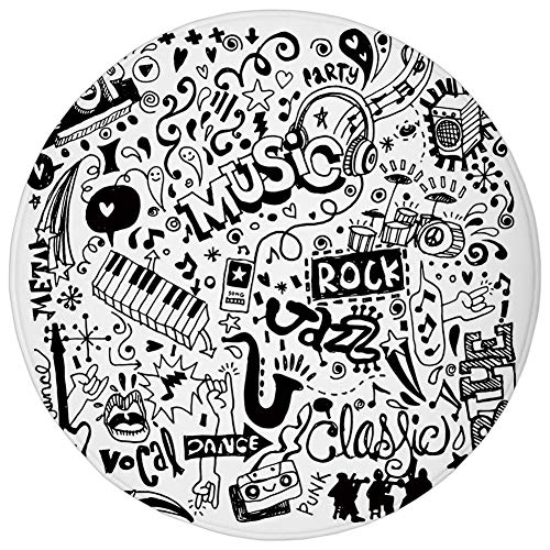 Round Rug Mat Carpet,Doodle,Music Collection with an Abstract Drawing Rock Jazz Blues Metal Classic Dancing,Black White,Flannel Microfiber Non-Slip Soft Absorbent,for Kitchen Floor Bathroom -