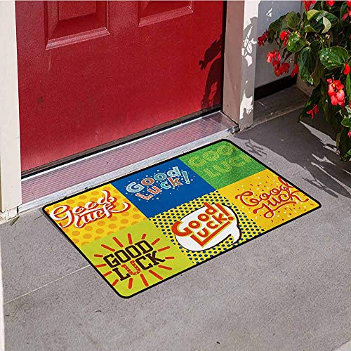 Going Away Party Inlet Outdoor Door mat Lucky Phrase Text Farewell Comic Book Pop Artwork Retro Typography Print Catch dust Snow and mud W31.5 x L47.2 Inch Multicolor