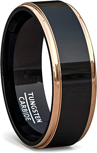 Mens Wedding Band Mens Ring Tungsten Ring 8mm Brushed Silver with Rose Gold Stripe and Black Sides