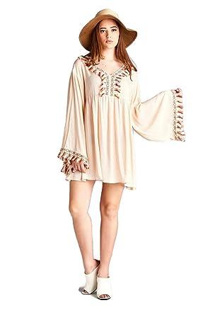 4dc0cb64d49 Velzera Fringed & Embroidered Bohemian Tunic Dress Boho Chic Plus Size at  Amazon Women's Clothing store: