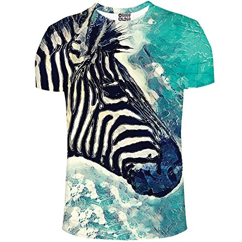 WHAT ON EARTH Women's Zebra Watercolor T-Shirt - Short Sleeve - Front/Back Print - XL (Tops Zebra Print)