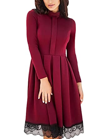 4861fe2a591 LOSRLY Women High Neck Long Sleeve Pleated Lace Hem Skater Midi Dress- Burgundy S 4 6 at Amazon Women s Clothing store