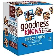 goodnessKNOWS Blueberry, Almond & Dark Chocolate Gluten Free Snack Square Bars 18-Count Box