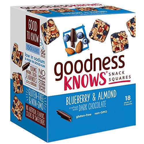 goodnessknows Gluten Free Snack Square Bars 18-Count Box