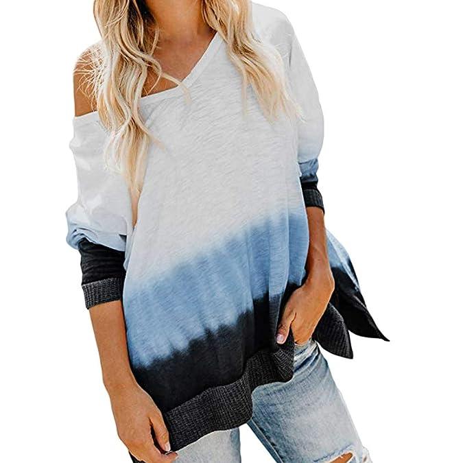 Sudadera de Blusa de Mujer con Cuello en V Top, Mujer Moda Camisas ...