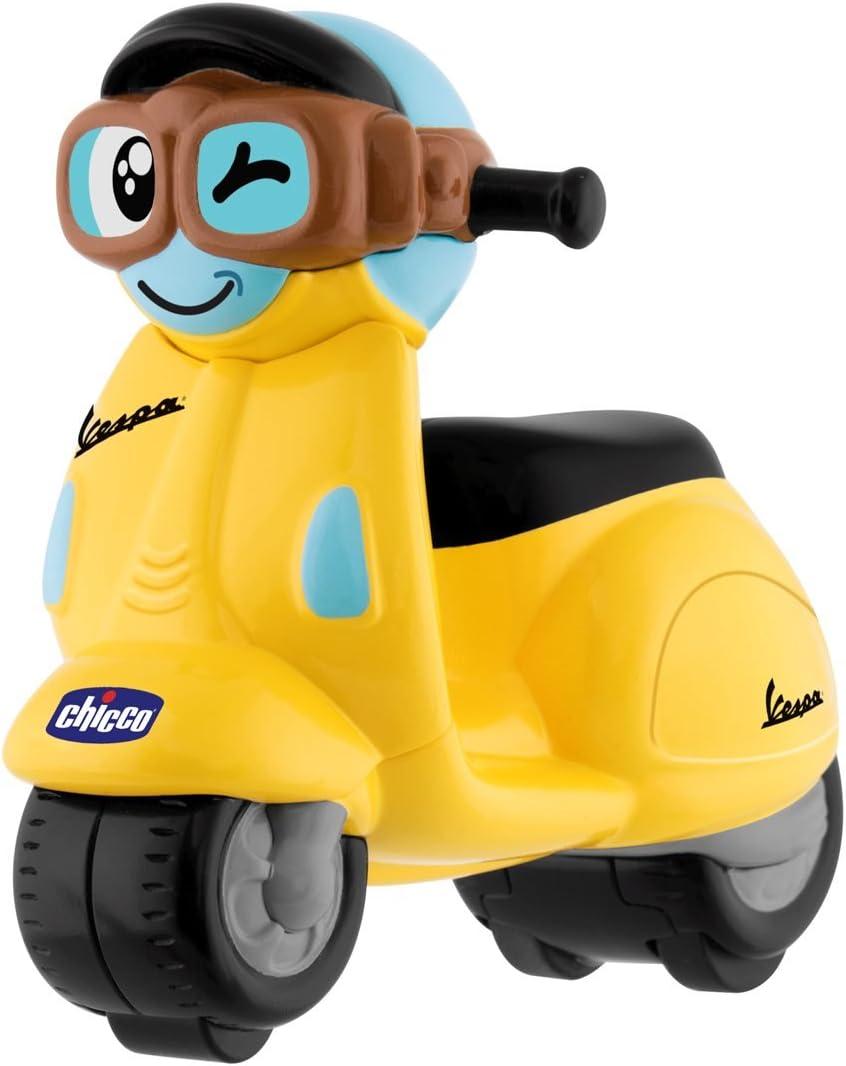 Chicco - Mini moto, Vespa Turbo Touch, con carga por retroceso, color amarillo